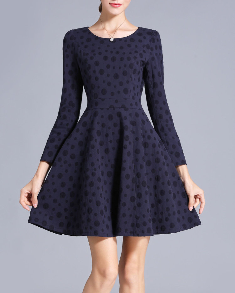 Navy Blue Cotton Dress A Line Long Sleeve