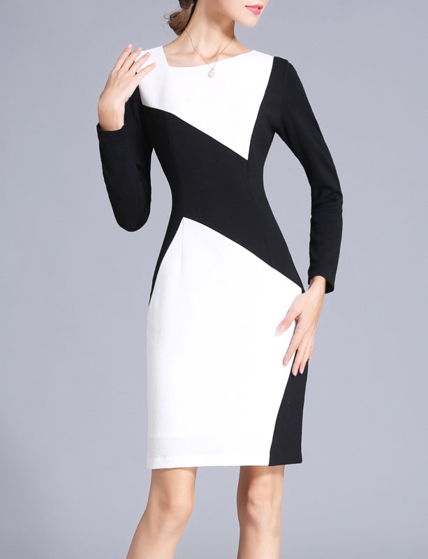 Black and White Office Dress Knee Length Plus Size
