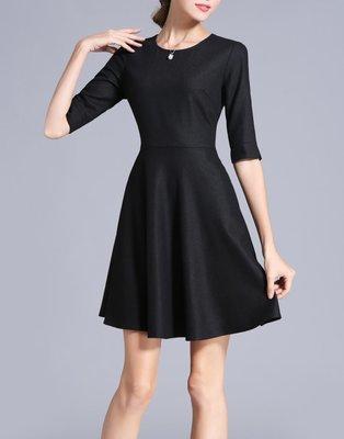 Black Wool Mini Dress with Sleeve