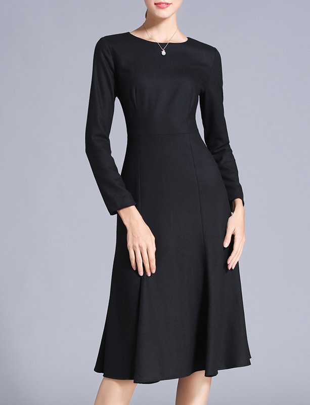 Vintage Style Long Black Wool Dress Sheath A Line