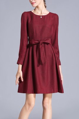 Red Bow Back Dress Casual Winter Dress
