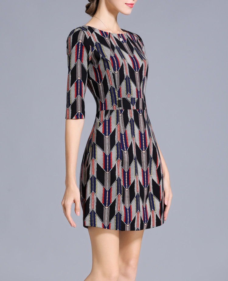 Winter Geometric Pattern Dress Made to Measure