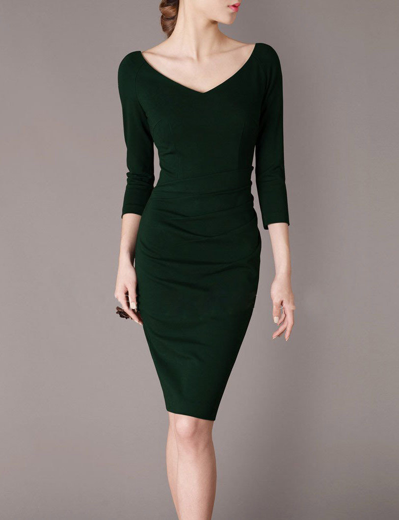 Dark Green Mother of the Bride Dress with Sleeve