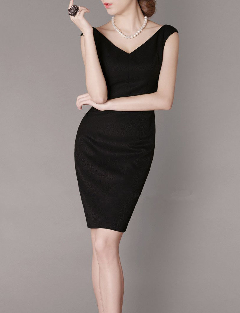 Black Vintage Dress Sheath Style V Neck