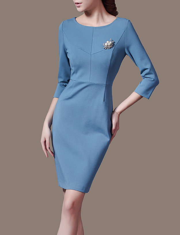 Wear to Work Blue Winter Dress