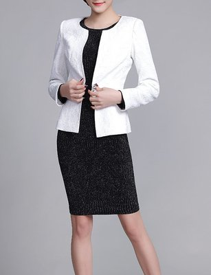 Vintage Women White Jacket for Work Church Suits