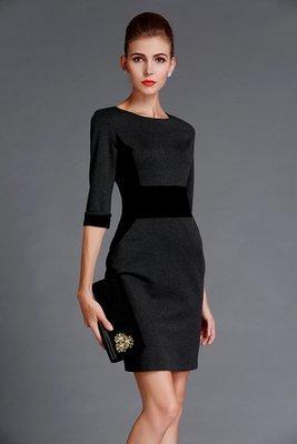 Grey Autumn Dress Sheath Dress Zipped Back