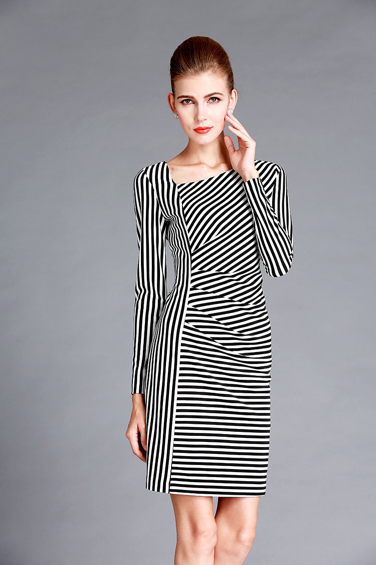 Black White Striped Dress Oblique Neckline