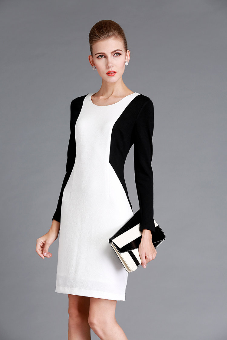 City Chic Black White Women Winter Dress