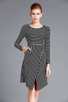 Striped Winter Outfits Asymmetry Dress