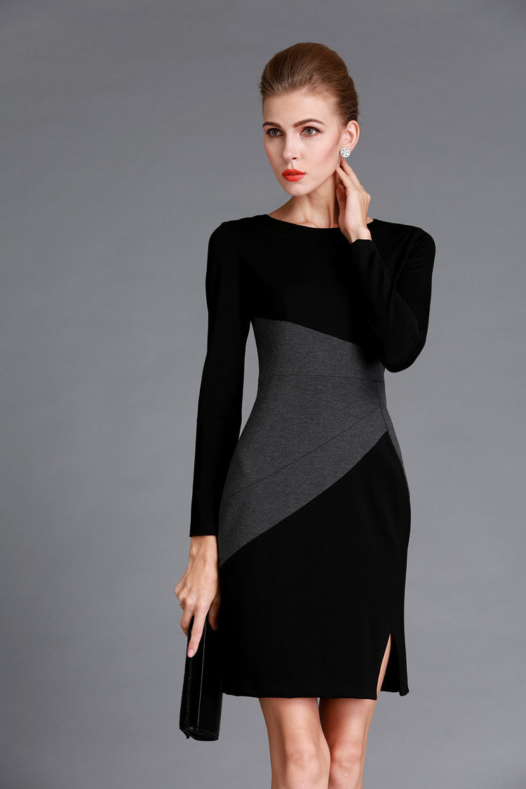 Grey Black Color Block Dress Winter Outfits