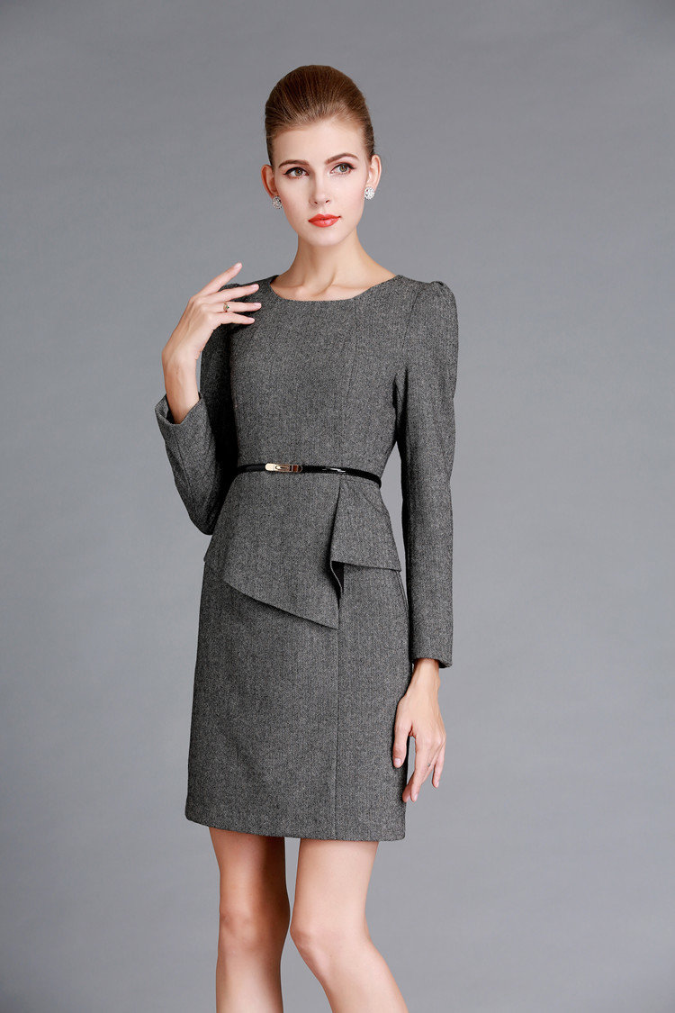 Grey Dress to Work Winter Office Wear
