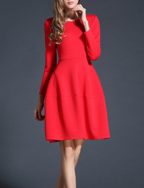 Red Christmas A Line Dress Elegant Empire Dress