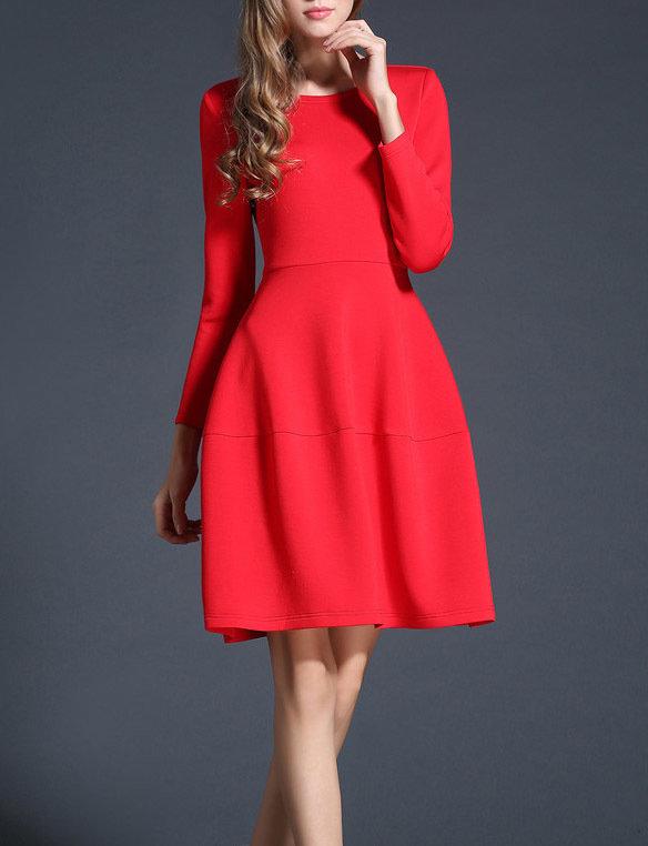 Red Christmas A Line Dress Elegant