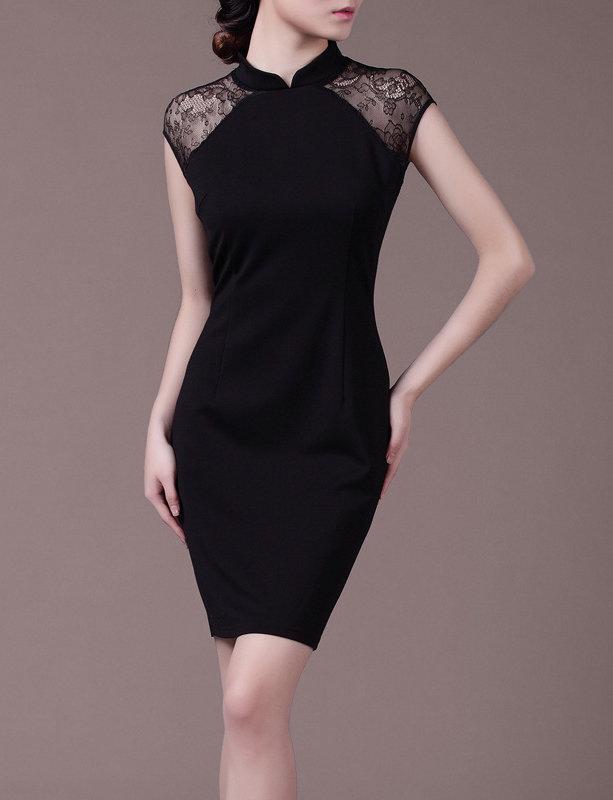 Cheongsam Black Evening Dress Made to Measure