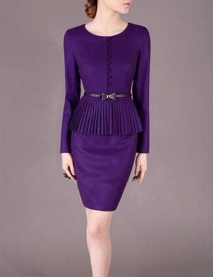 Purple Winter Outfits Wool Dress Suits