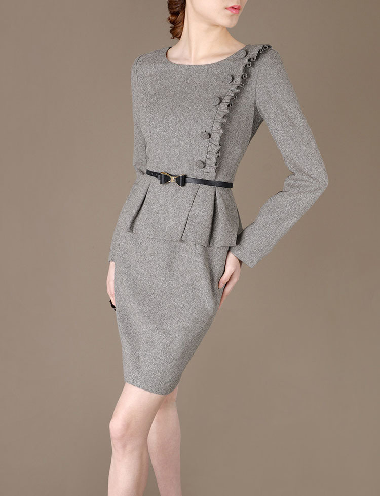 Vintage Coat Dress Winter Grey Outfits