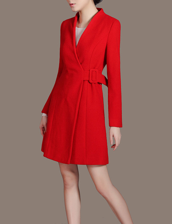 Red Wool Dress Coat V-neck Long Sleeve Sashes Belt