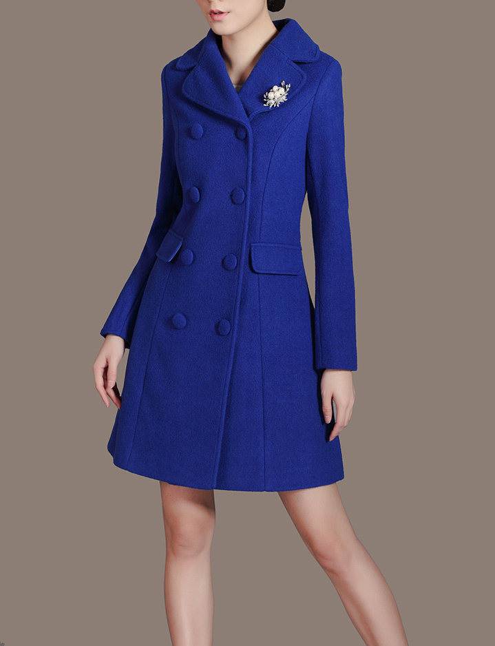 Double Breasted Women's Royal Blue Wool Long Down Coat