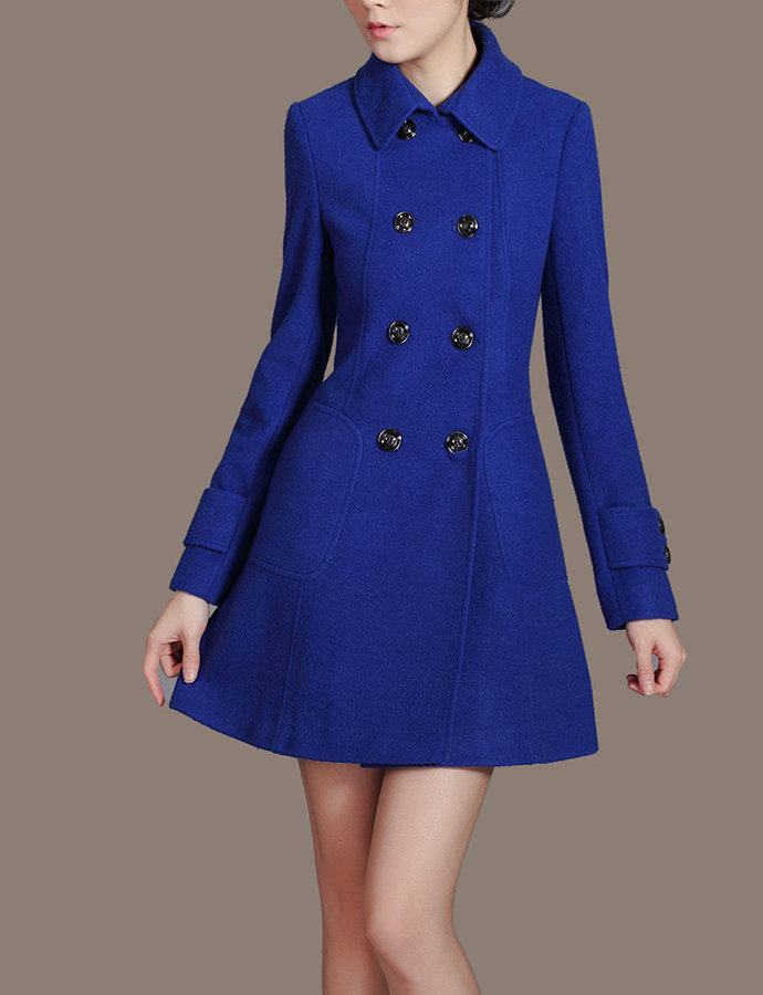 Royal Blue Flared Dress Coat Button Down