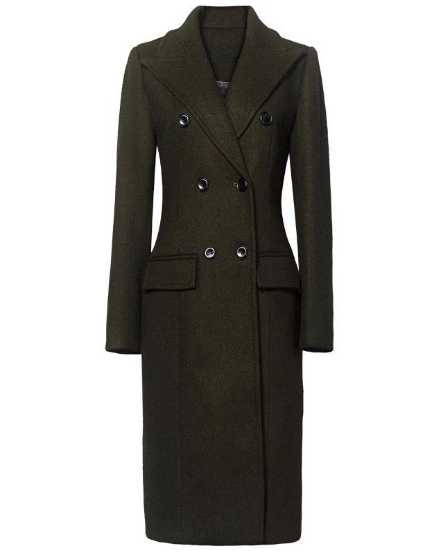 Emerald Green Wool Dress Coat