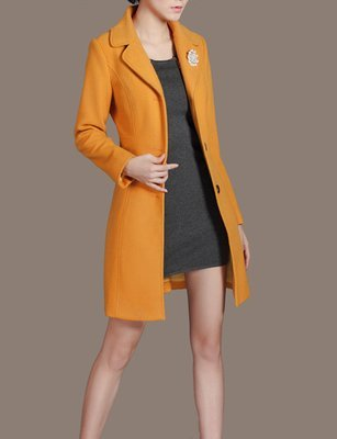 Yellow Sheath Wool Coat with Fur Collar