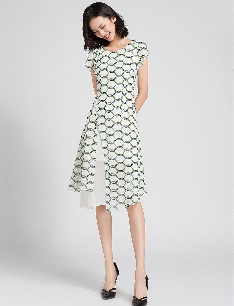 Vintage Flared Dress Asymmetry