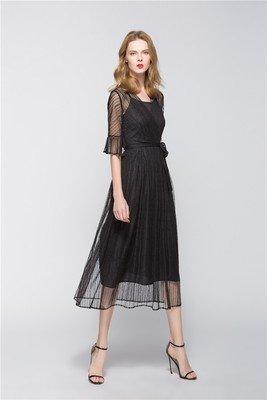 a920bd3a77e ☆Elegant Black Full Length Dress Maxi Dress Sexy Design Midi Sundress Prom  Dress with Sashes