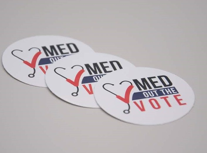 Med Out the Vote stickers (gloss front, bulk pricing available)