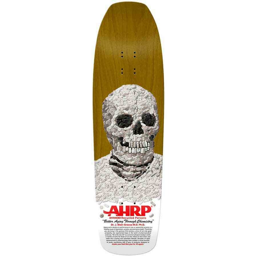 SIGNED** Antihero Jeff Grosso Pill Head Double Drilled Deck 9.25x32.625
