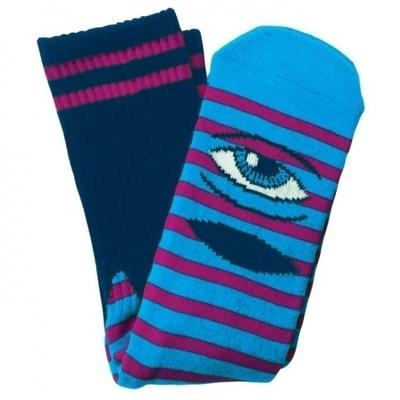 Toy Machine Sect Eye Stripe Crew Socks Turquoise/Purple