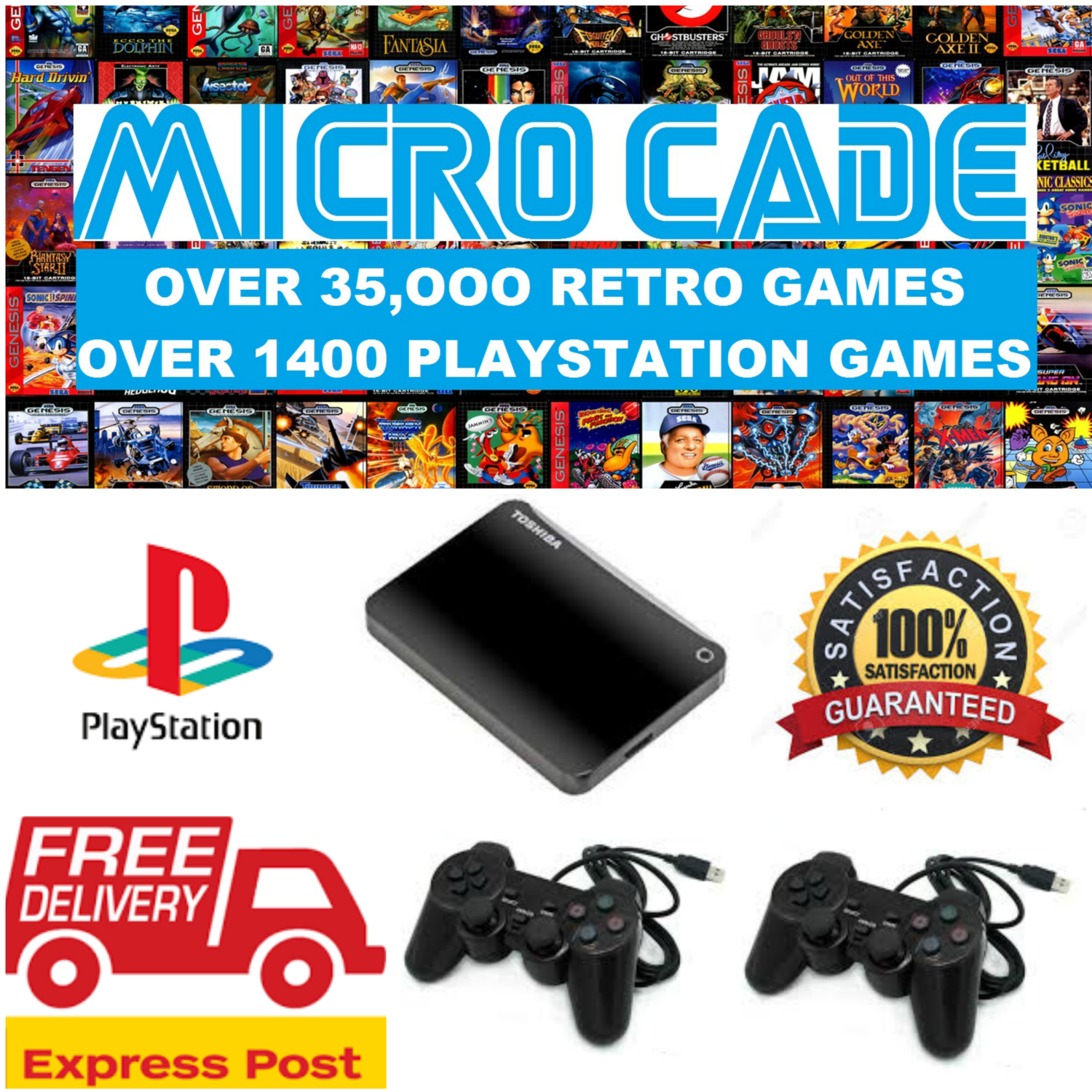 THIS IS AN UPDATE NOT A CONSOLE  1TB USB UPDATE DRIVE WITH OVER 35,000  RETRO GAMES AND 1,400 PLAYSTATION GAMES WITH 2 X PS USB CONTROLLERS   COMPATIBLE
