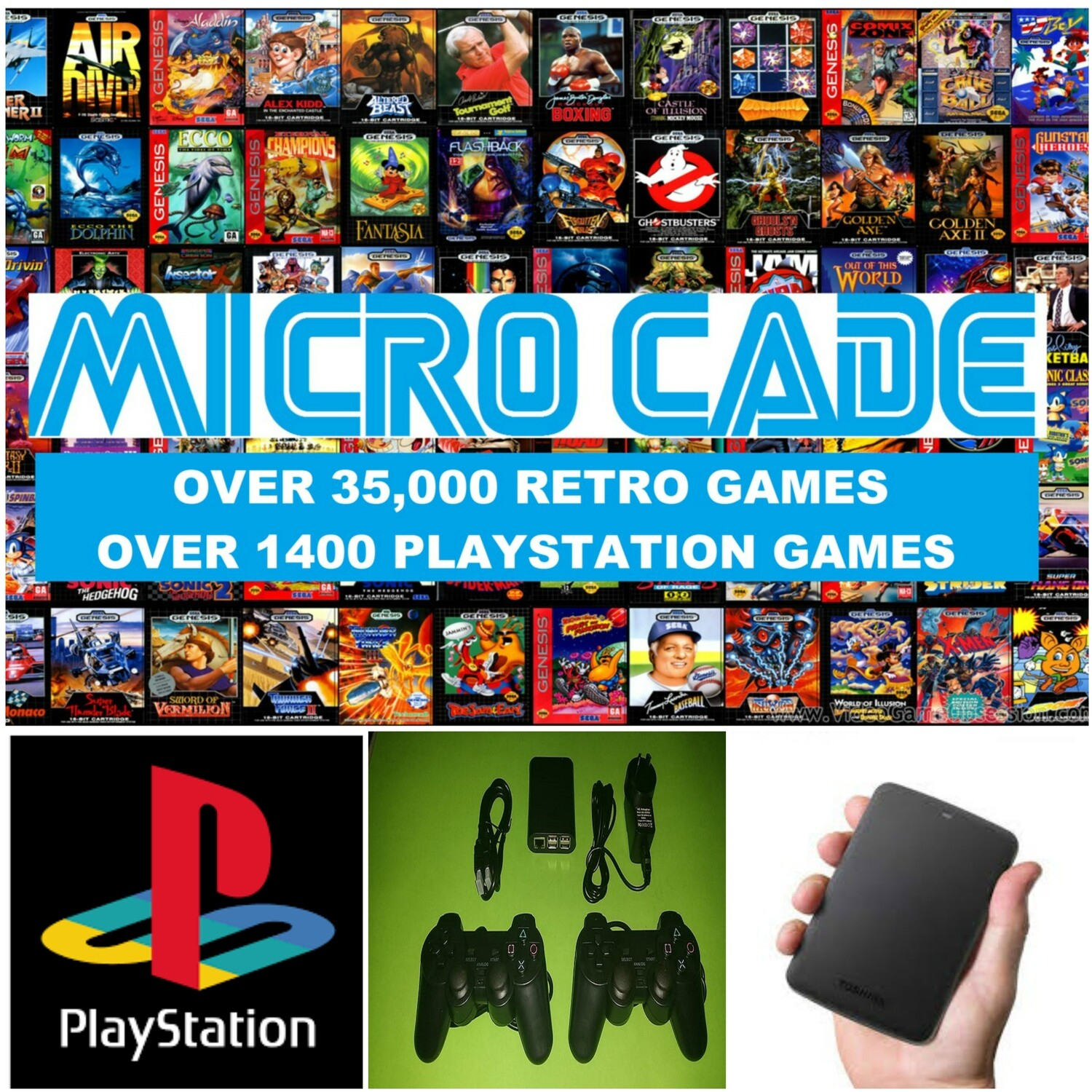 SUPER MEGA BUNDLE OVER 35,000 RETRO GAMES AND 1400 PLAYSTATION GAMES  2 X  PS CONTROLLERS WITH 1TB USB DRIVE