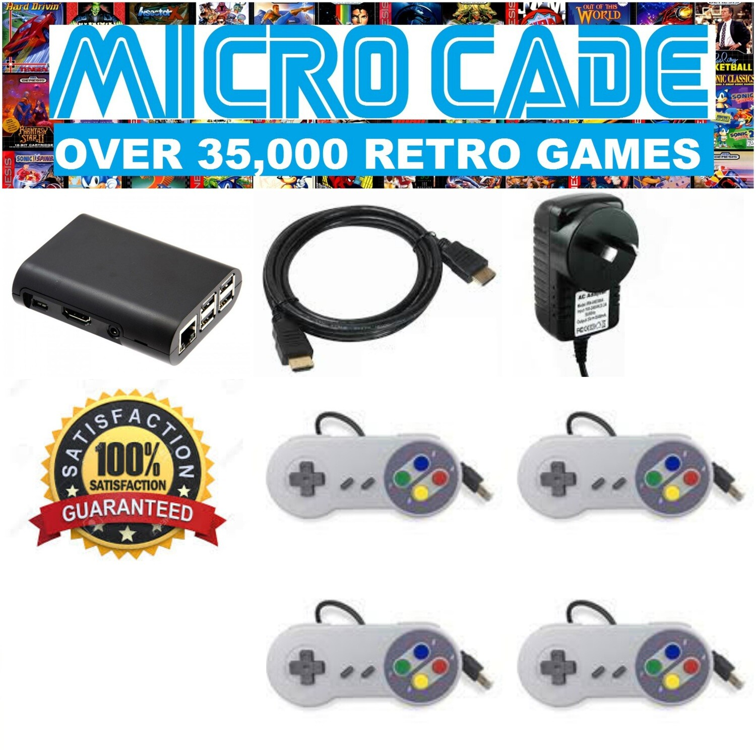 MICRO CADE OVER 35,000 RETRO GAMES, 4 X SNES CONTROLLERS