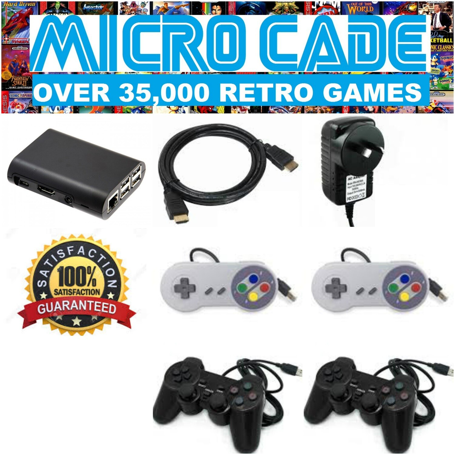 MICRO CADE OVER 35,000 RETRO GAMES WITH 2 X PS CONTROLLERS AND 2 X SNES CONTROLLERS