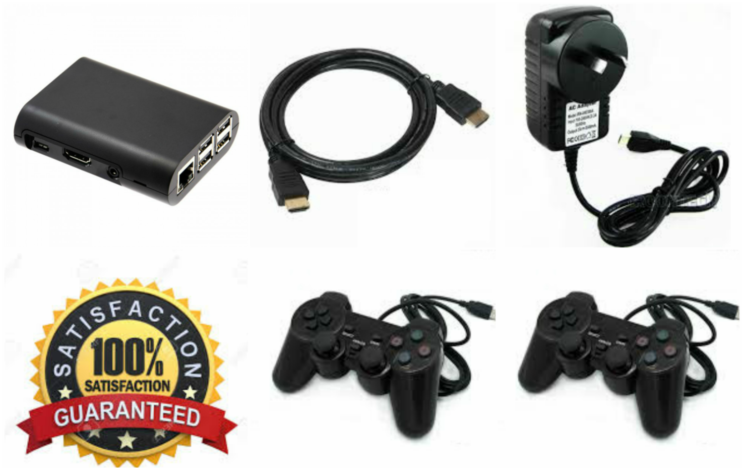 MICRO CADE OVER 35,000 RETRO GAMES, 2 X PLAYSTATION USB WIRED CONTROLLERS.