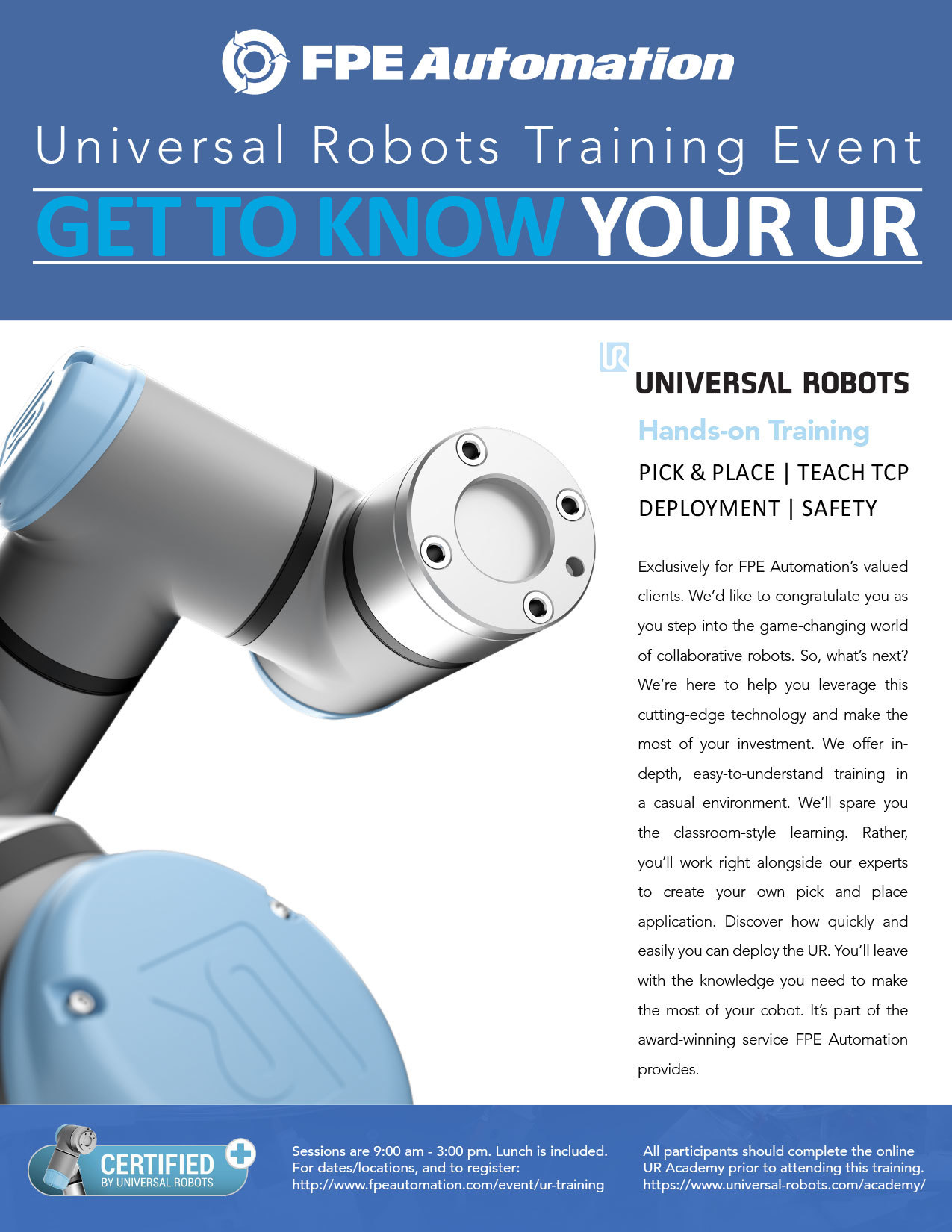 Universal Robots Training at FPE: Get To Know Your UR UR3510