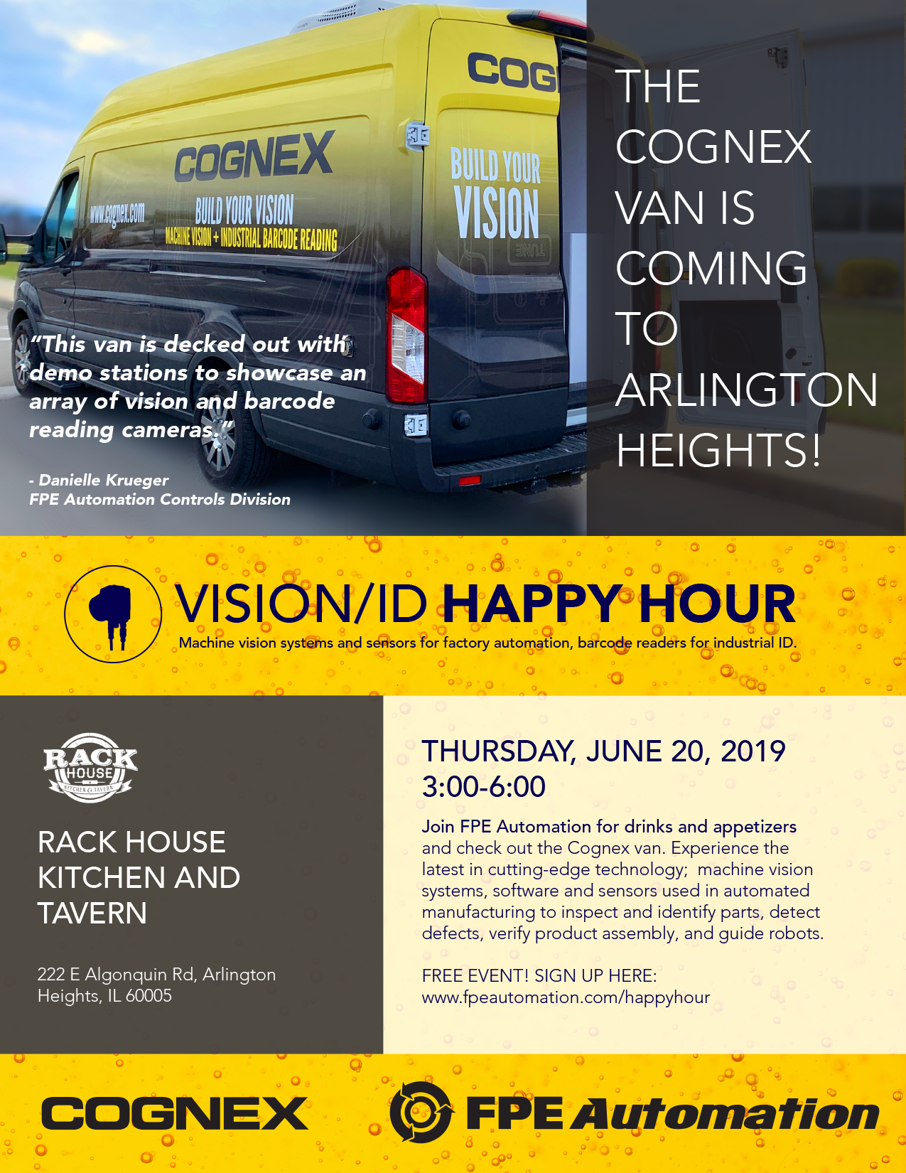 Vision/ID Happy Hour & Cognex Van at the Rack House COGNEXHAPPYHOUR062019