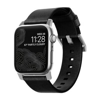 Bracelet en Cuir Modern noir Rustique pour Apple Watch 44/42mm de Nomad