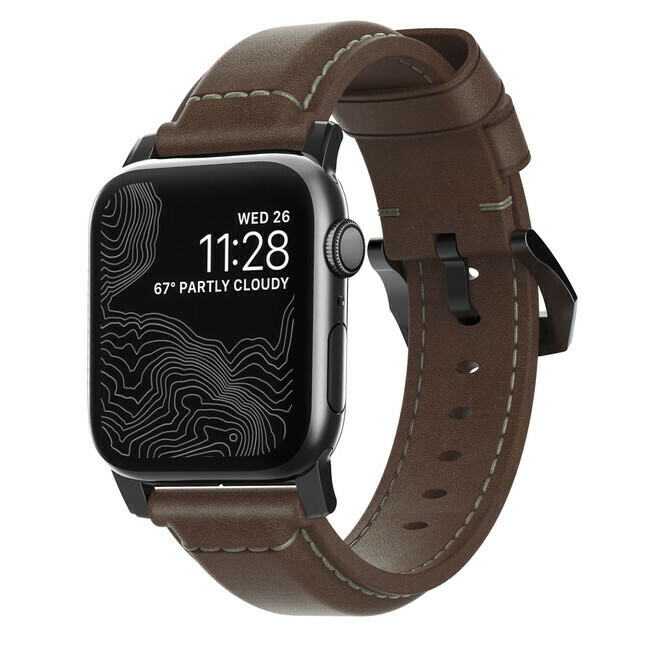 Bracelet en Cuir Horween Apple Watch 42mm Marron de Nomad