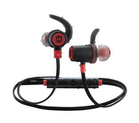 Écouteurs sans fil Bluetooth® résistant à l'eau avec micro, commande à distance et pinces ROUGE de iHome