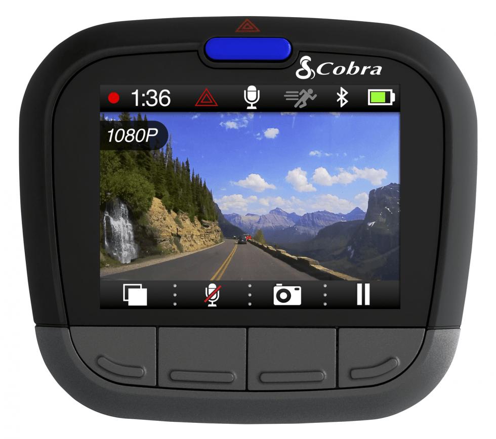 Caméra de tableau de bord (dash cam) 1080p avec Bluetooth CDR855BT de Cobra