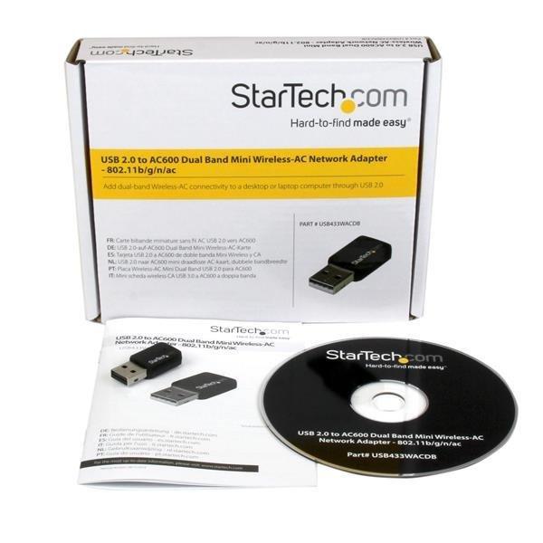 Mini adaptateur USB 2.0 réseau sans fil AC600 double bande - Clé USB WiFi 802.11ac 1T1R