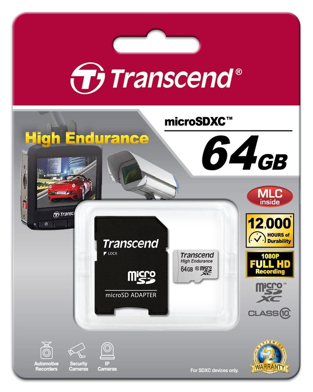 Cartes microSDXC/SDHC Haute Endurance 64G de transcend