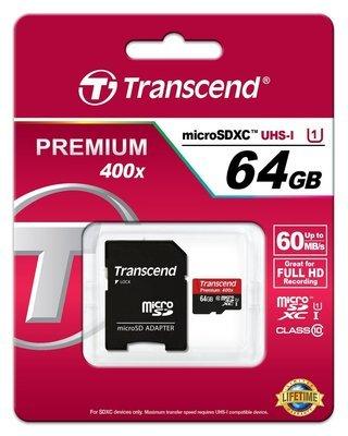 Carte microSDXC/SDHC Classe 10 UHS-I 400x (Premium) 64G de Transcend
