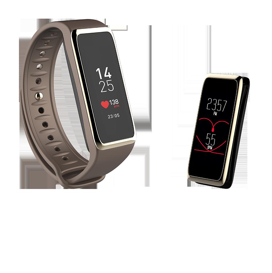 Montre tracker d'activité Zefit3HR avec capteur de rythme cardiaque brun/or de MyKronoz