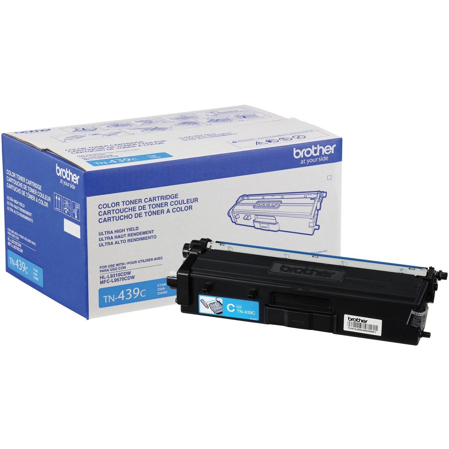 Cartouche de toner original cyan TN439C 9000 pages de Brother
