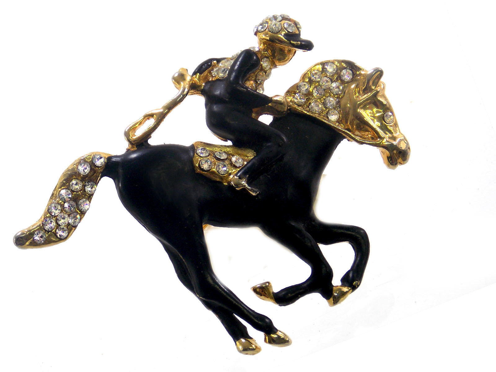 Black Racehorse Pin with Rhinestones 00005