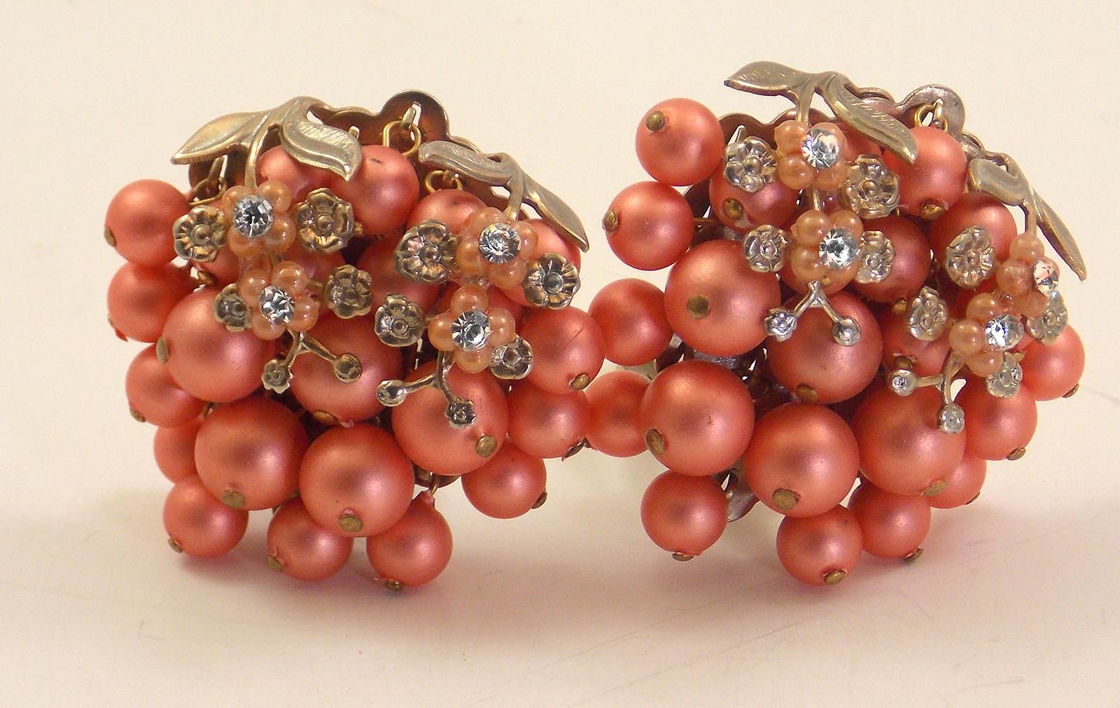 Vintage Pink Clip Back Earrings 00029