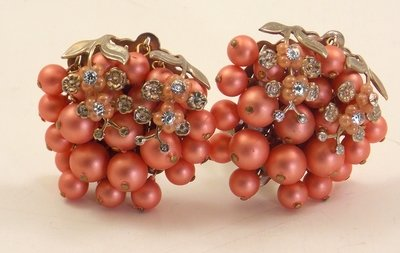 Vintage Pink Clip Back Earrings